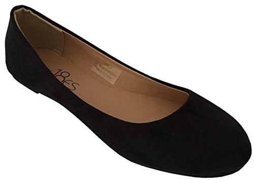 - Shoes 18 Womens Classic Round Toe Ballerina Ballet Flat Shoes 8600 Black Micro 8.5