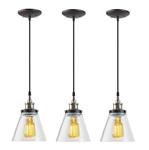 globe electric 1light vintage edison hanging pendant 3pack antique brass u0026 bronze finish black cord glass shade