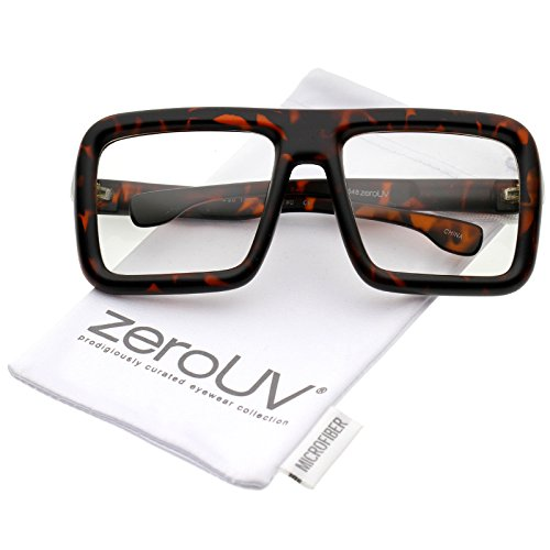 zeroUV - Oversize Bold Thick Frame Clear Lens Square Eyeglasses 58mm (Matte Tortoise / Clear - Glasses Casino