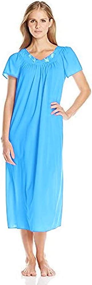 Miss Elaine Women's Tricot Long Flutter-Sleeve Nightgown