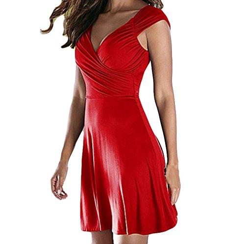 Vestido de Fiesta en Mangas Noche Absolute y sin con Rojo para de de Vestido Vestido V Cuello ❤️ Mujeres Fiesta AqdBwBn