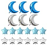 KIYOOMY Crescent Moon Shaped Mylar Balloons 36 inch Moon and Star Party Balloons Pack of 18 for Birthday Party Anniversary Celebrate Parties Wedding Baby Shower Decorations (Blue and Silver)