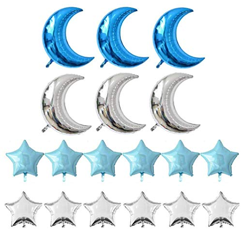 (KEYYOOMY Crescent Moon Shaped Mylar Balloons 36 inch Moon and Star Party Balloons Pack of 18 for Birthday Party Anniversary Celebrate Parties Wedding Baby Shower Decorations (Blue and Silver))