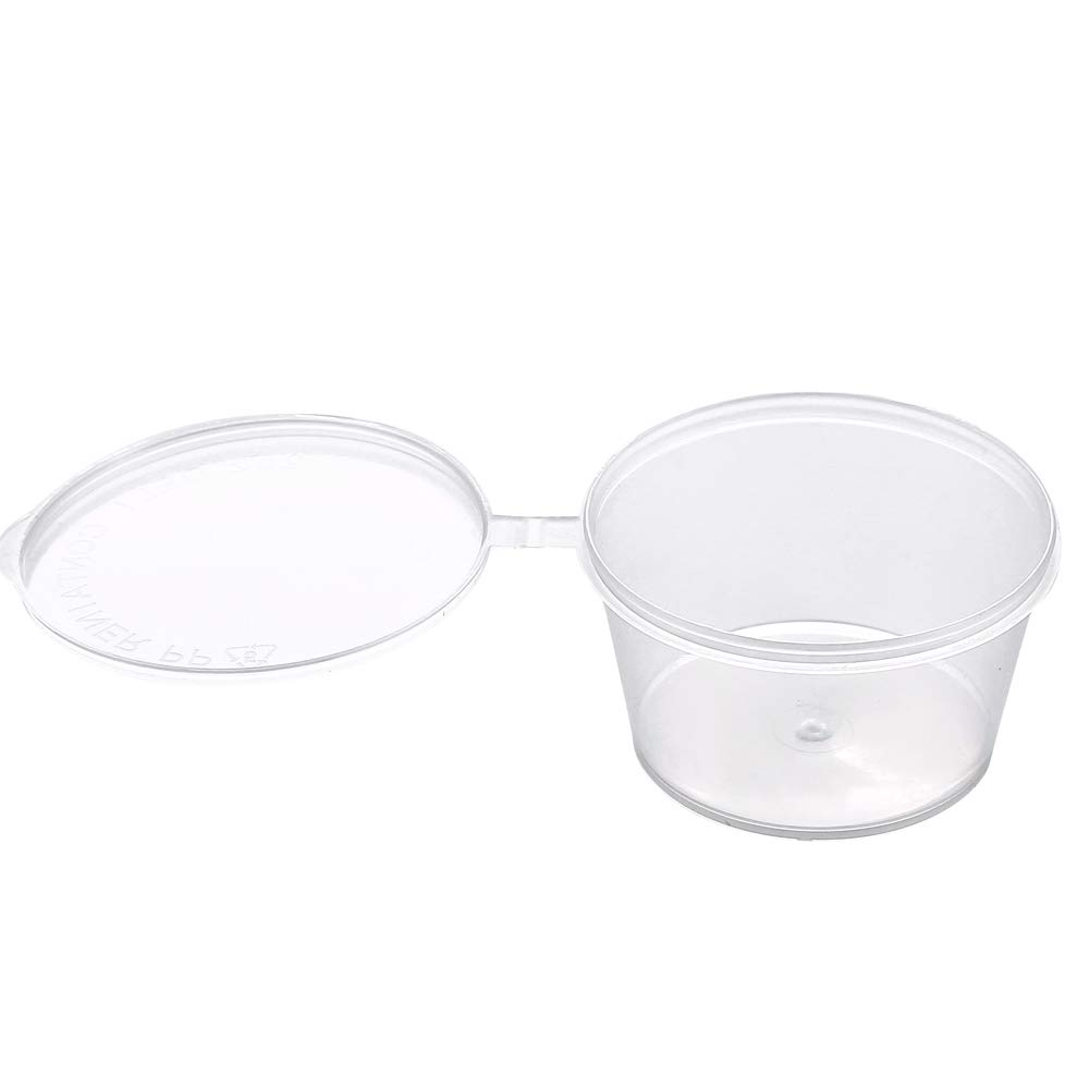 [4 oz. - 100 Sets]Disposable Plastic Portion Cups with Lids, Stackable Airtight Dressing Container to Go, Jello Shot Cups Souffle Cups Sauce Cups