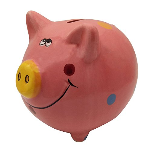Zching Cute Ceramic Pig Piggy Bank Personalized Money Saving Bank For Kids Girls Nursery Gift Decor  Pink