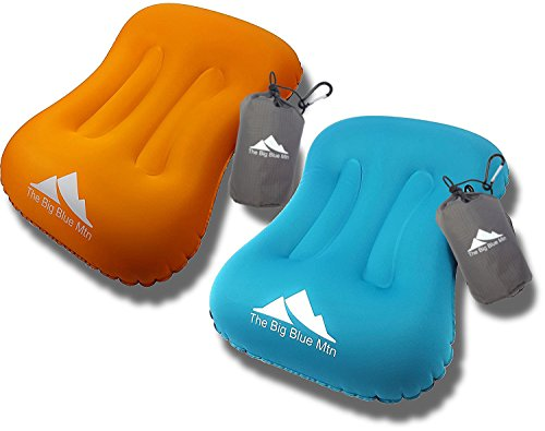 The Big Blue Mtn Camping Pillow Inflatable Backpacking Camp Hiking Ultralight Summit Gear - Beach Sea Travel Hammock Air Blow Up Portable Sleeping Pillows (Orange Blue, 2)