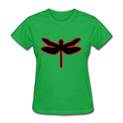 (Women Dragonfly T-shirt -large Elegent Print Green)