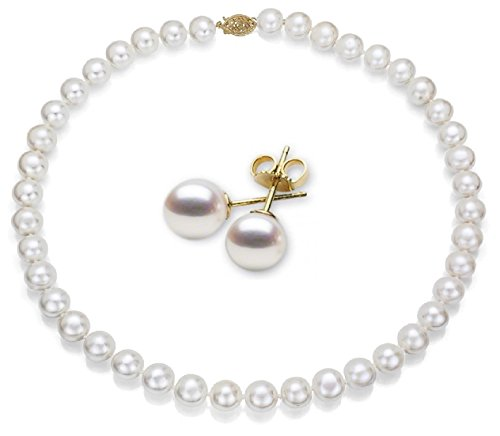 14k Gold, AAA Quality High Luster White Freshwater Cultured Pearl Set (9-10mm) Perfect Gift by Pearlyta