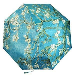 - Get Orange Oil Painting 3 Folding Parasol Sun Protection Anti-uv Travel Umbrella (Almond Blossom 1)