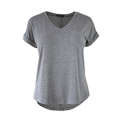 MAÏ CHUS Women's Plus Size Short Sleeve V Neck T Shirts Solid Casual Loose Blouse Tops Tees with Pocket (3XL, Grey)