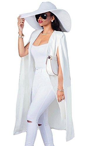 Womens Classic Long Sleeve Open Front Poncho Cape Cloak Blazer Jacket Coats White M