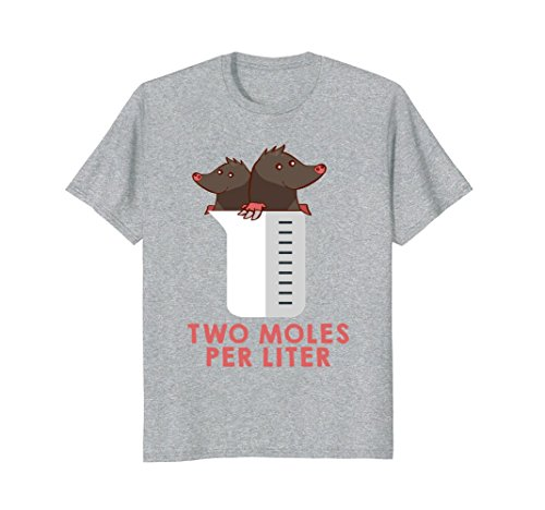 Mens Two Moles Per Liter Shirt - Funny Chemistry Science Tee Large Heather - Mole Grey