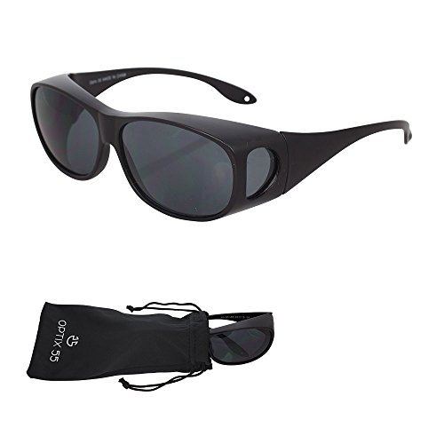 Wrap Around Sunglasses, UV Protection to Wear as Fit Over Glasses - Unisex Matte Black with Smoked Lenses - Polarized Lenses - by Optix - Sunglasses Branded
