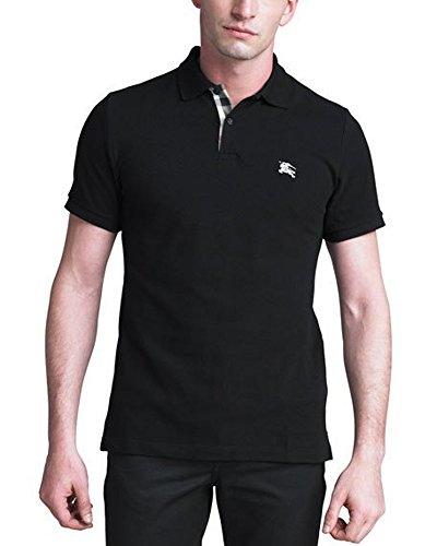 Burberry Brit Mens Short Sleeve Nova Check Placket Polo Shirt (Large, Black)
