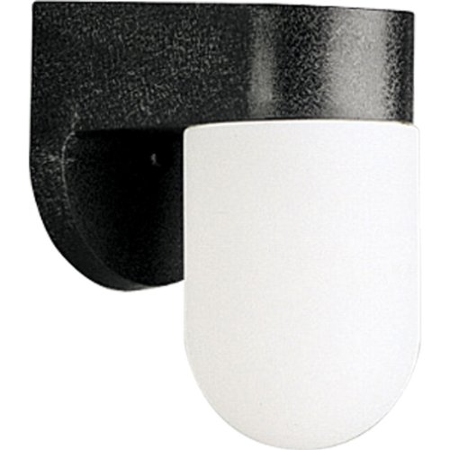 Progress Lighting P5817-31 Polycarbonate Wall Lantern White Acrylic Cylindrical Diffuser, Black ()