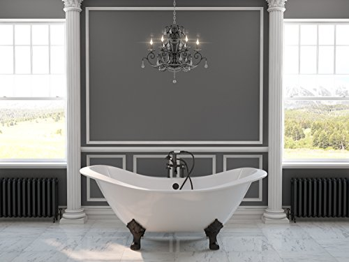 """71"""" Cast Iron Double Ended Slipper Tub with 7"""" Faucet Hole Drillings & Oil Rubbed Bronze Feet-""""Buchanan"""""""