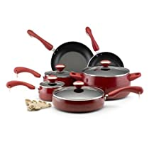 USA Star Signature Nonstick 15-piece Porcelain Cookware Set - Dull-red