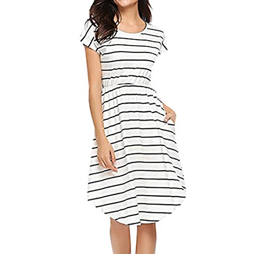 (Women Dress Daoroka Sexy Summer Striped Casual Loose Short Sundress With Pockets Elastic Waist Skirt (XL, White))
