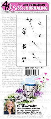 Art Impressions WC5074 Journaling Watercolor Rubber Stamps-Bible Flower