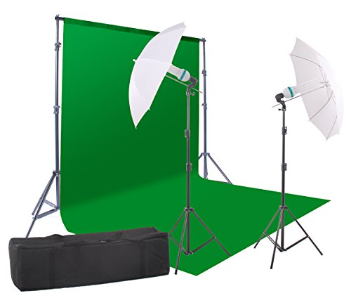 StudioFX 800W Chromakey Green Screen 10ft x 12ft Backdrop Photography Video Lighting Kit - Background Support System Included - Kaezi CH15-1012G vs-1 by StudioFX
