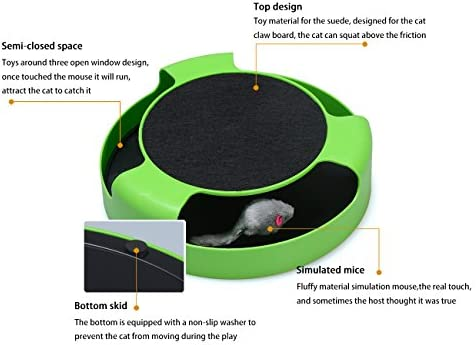 FYNIGO Cat Interactive Toys with a Running Mice and a Scratching Pad,Catch The Mouse,Cat Scratcher Catnip Toy,Green 3