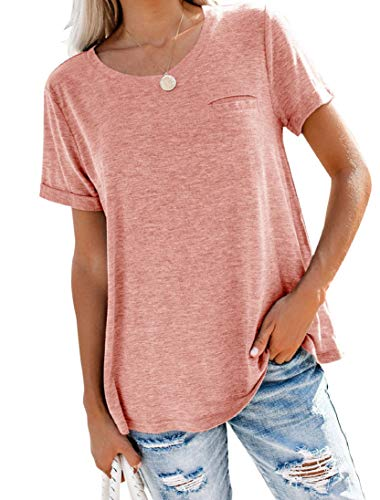 Bingerlily Women's Roll Up Short Sleeve T Shirts Crew Neck Tops Loose Causal Tees with Pocket