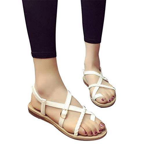 Women Low-Flat Flip Flops, JOYFEEL ❤️ Ladies Bohemian Bandage Clip Toe Casual Beach Shoes Buckle Outdoor Roman Sandals White