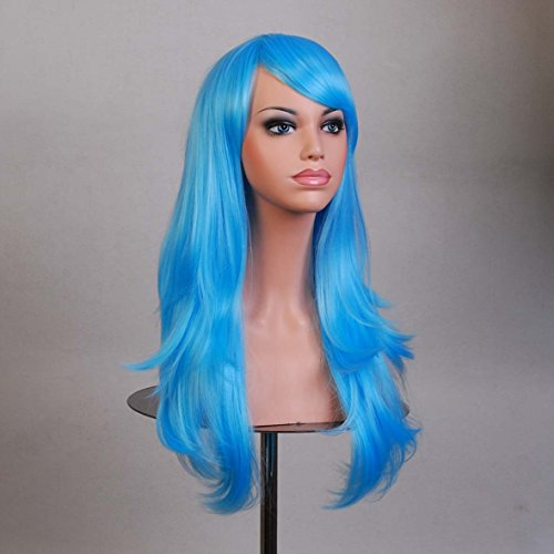 [Anime cosplay wig hair color in high temperature wire,blue] (Male Troll Doll Costume)