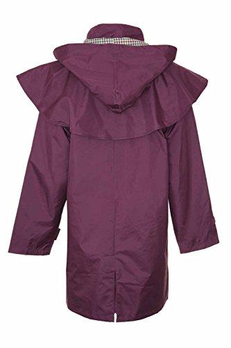 Damen Riding Coats leicht wasserdicht mit Innenseite Futter und abnehmbare Kapuze 3Quarter Länge (14, Pflaume)