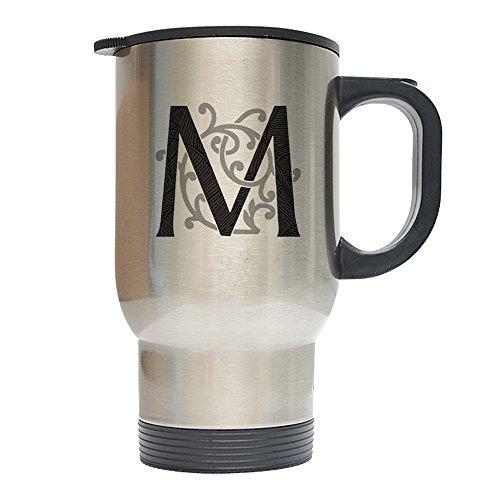 Mystic Sloth Monogram Initial 14oz Stainless Steel Travel Coffee Mugs (M, Silver) Monogram Travel Mugs