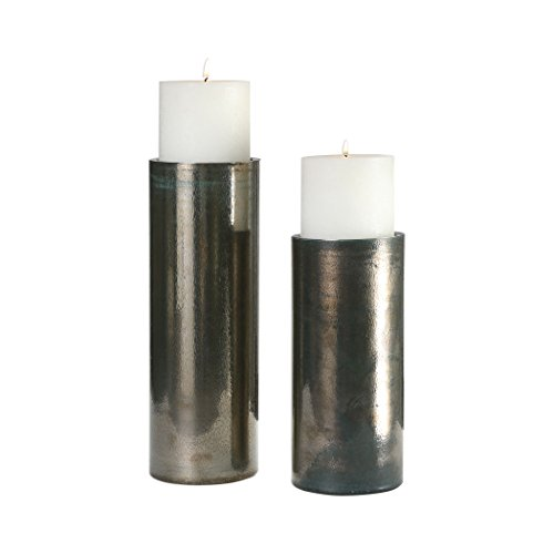 Uttermost 18933 Amala Iridescent Glass Pillar Candleholders - Set of 2 by Uttermost