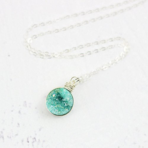 Green Druzy Sterling Silver Circle Necklace - 16