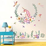 Unicorn Wall Decals Girls Bedroom Wall Stickers Children Room Wall Stickers 60x90CM w2660
