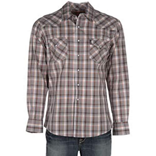 Brandy Snaps - Cinch Men's Modern Fit Long Sleeve Snap Two Flap Pocket Plaid Shirt, Brandy Gray S