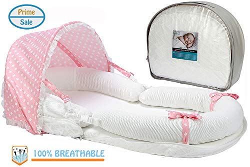 Baby Lounger for Newborn, Breathable & Hypoallergenic Co-Sleeping Baby Bed, Portable Crib Bassinet for Bedroom/Travel(Pink)