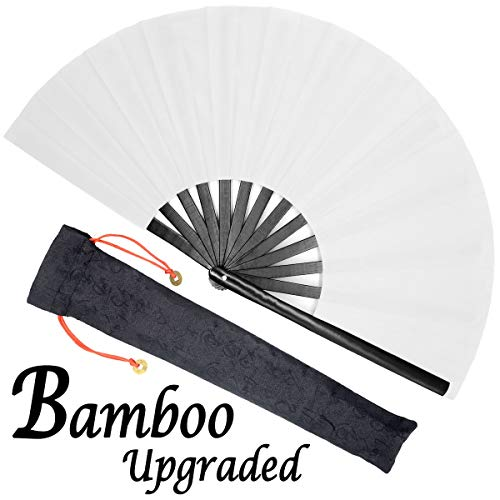 OMyTea Bamboo Large Rave Festival Folding Hand Fan for Men/Women - Chinese Japanese Solid Color Kung Fu Tai Chi Handheld Fan with Fabric Case - for Performance, Decorations, Dancing, Gift (White)