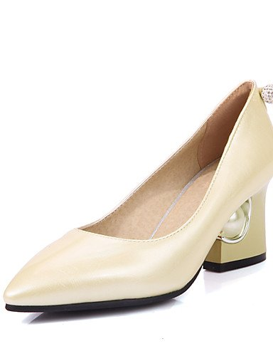 GGX/Damen Schuhe Frühjahr/Sommer/Herbst Heels/spitz Toe Heels Hochzeit Kleid Chunky Ferse slip-onblack/ beige-us10.5 / eu42 / uk8.5 / cn43