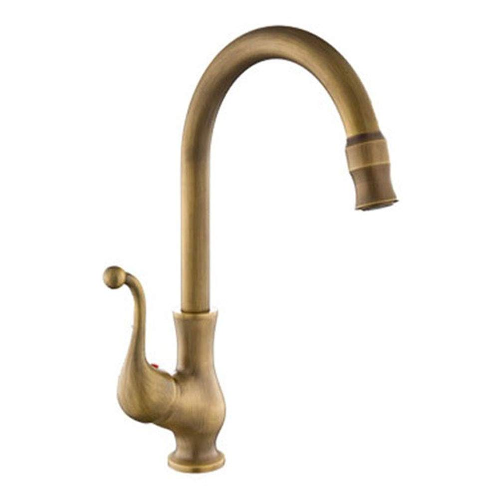 Antique Copper Brushed Kitchen Sink Mixer Tap High Spout 360 ° Swivel Country House Style Single Lever Brass Taps Single Handle High Arc for Lead Free Brushed Single Handle Bathroom Washing Up Bowl