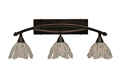 "Toltec Lighting 173-BC-759 Bow 3 Light Bath Bar with 7"" Italian Ice Glass, Black Copper Finish"