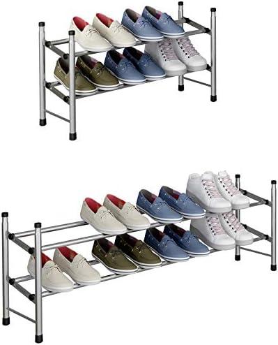 "TZAMLI 2-Tier Free Standing Shoe Rack Metal Iron of Expandable and Adjustable Shoes Organizer, Stackable Shoe Shelf for Entryway Doorway, 24.41"" x 8.66"" x 13.78"" (Silver Gray, 2-Tier)"
