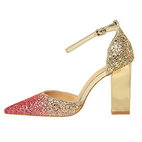Yukun zapatos de tacón alto Verano Plata Cristal Acentuado Grueso con Tacones Altos Zapatos con Lentejuelas Solo Palabra Femenina Sandalias Hebilla, 36, Plata Rose Red