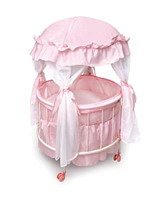 Badger Basket Royal Pavilion Round Doll Crib with Canopy and Bedding by Badger Basket