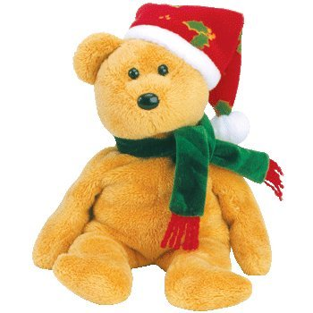 TY 2003 Holiday Teddy Beanie Baby by TY~XMAS BEANIES - Fabric Christmas Bear