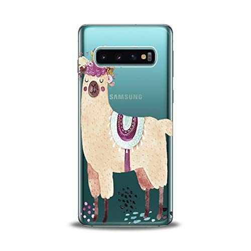 Lex Altern TPU Case for Samsung Galaxy s10 5G Plus 10e Note 9 s9 s8 s7 Llama Clear Kawai Cute Cover Pink Print Flower Protective Floral Lightweight Animal Women Silicone Transparent Flexible Girl Gift