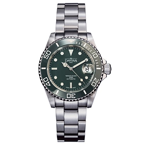 Davosa Swiss Ternos 16155570 Diver Analog Men Wrist Watch Steel Band green