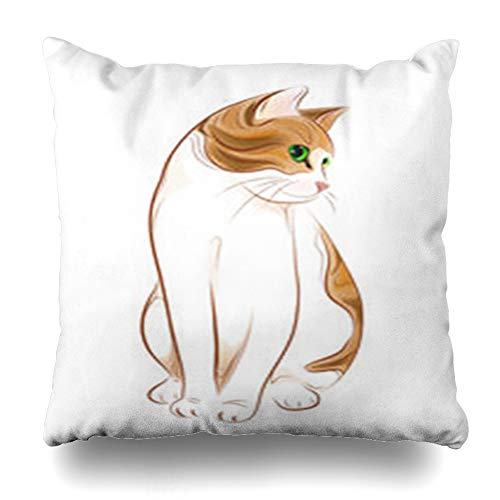 Decor Champ Throw Pillow Covers Drawn Hand Ginger Tabby Pretty Cat Wildlife Kitten Red Fluffy Home Decor Sofa Pillowcase Square Size 18 x 18 Inches Cushion ()