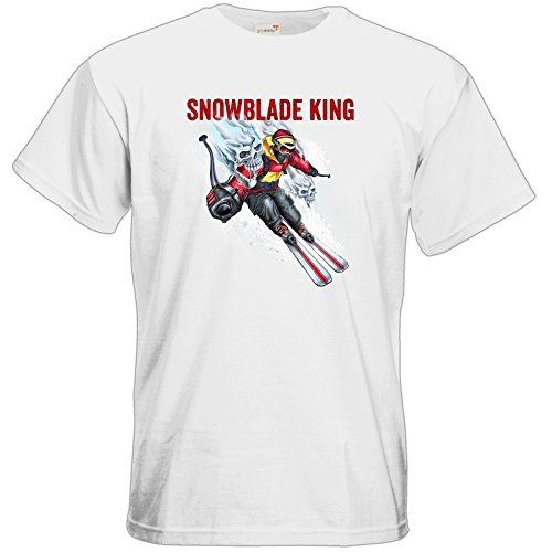 getshirts - RAHMENLOS® Geschenke - T-Shirt - Winter Sports Ski Style SNOWBLADE KING - white 5XL