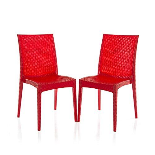 Varmora Designer Chair Set of 2 (Club – Red)