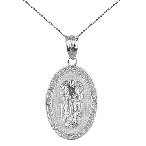 Sterling Silver Saint Gabriel The Archangel CZ Oval Medal Necklace (1