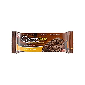 Quest Nutrition Protein Bar, Chocolate Brownie, 20g Protein, 5g Net Carbs, 180 Cals, High Protein Bars, Low Carb Bars,2.1 oz Bar, 12 Count